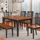 6-PC-Nicoli Dining Set Table with 4 Chairs & 1 Bench in Black & Cherry. SKU: NICO6-BLK-W