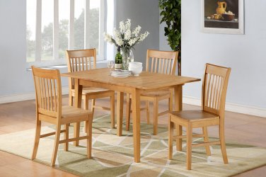 "3-PC-Norfolk 32�X54"" Rectangular table & 2 Wood Seat chairs in OAK Finish. SKU: NOFK3-OAK-W"
