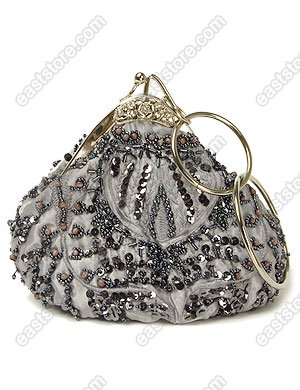 Unique Beaded and Embroidered Triangle Handbag