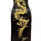 Luxurious Golden Dragon Embroidery Silk Dress