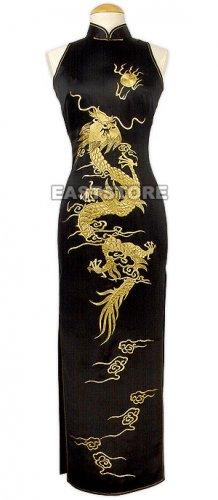 Luxurious Golden Dragon Embroidery Silk Dress