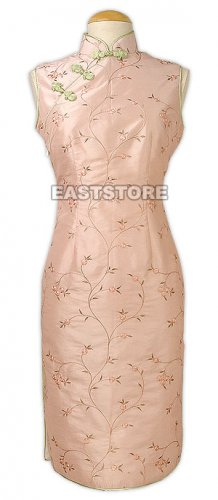 Suave Floral Embroidery Knee-Length Qipao