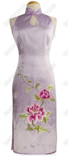 Classical Peony Embroidered Knee-length Cheongsam