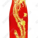 Luxurious Gold Embroidery Phoenix Silk Cheongsam