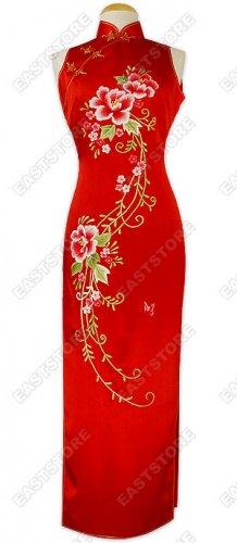 Eternal Floral Embroidery Silk Dress
