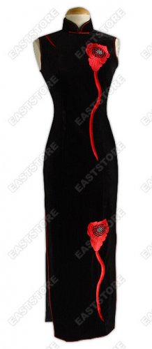 Flower Embroidered Velvet Cheongsam
