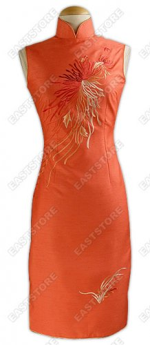 Floral Embroidered Knee-Length Thai Silk Cheongsam