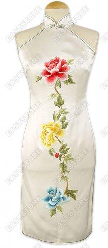 White Silk Embroidered Peony Dress