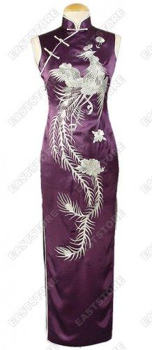 Embroidery Dancing Phoenix Silk Cheongsam