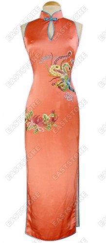 Exquisite Dancing Phoenix Silk Cheongsam