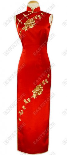 Peony Embroidered Ankle-Length Silk Cheongsam