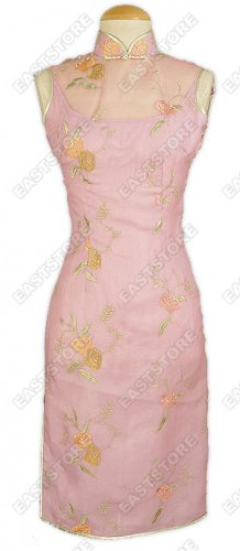 Attractive Embroidered Silk Voile Knee-Length Cheongsam