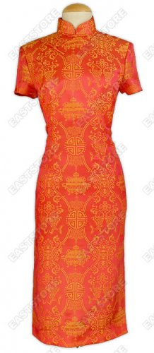 Blessing Double Fishes Silk Cheongsam