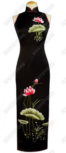Blossomy Lotus Embroidered Silk Cheongsam