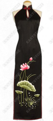 Lotus Embroidered Half-Back Style Silk Cheongsam