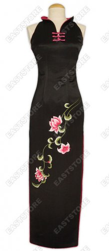 Silk Embroidery Lotus Cheongsam