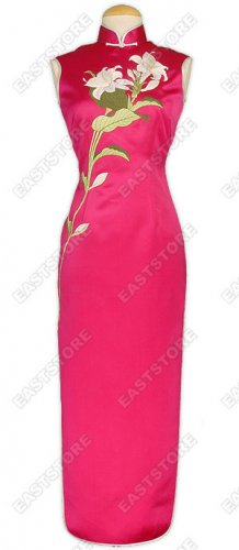 Blooming Lily Embroidery Cheongsam