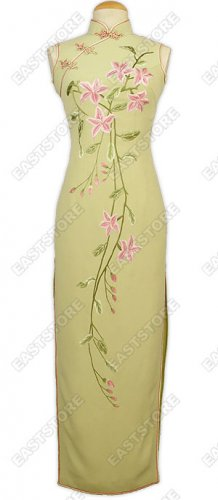 Blooming Flowers Embroidered Silk Dress