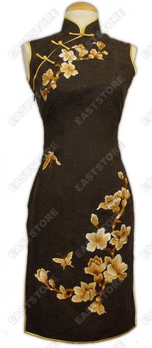 Suave Yulan Embroidered Silk Crape Cheongsam