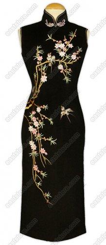 Stunning Tao Hua Embroidered Cashmere/Wool Cheongsam