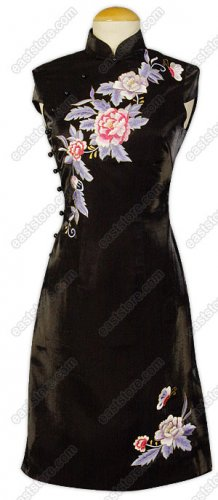 Stunning Floral Embroidered Silk Cheongsam