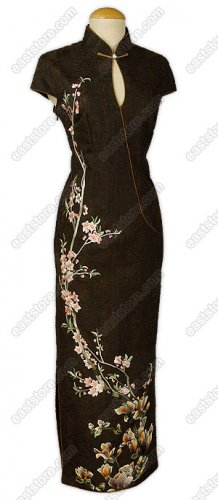 Yulan and Peachblossom Embroidered Silk Crape Cheongsam