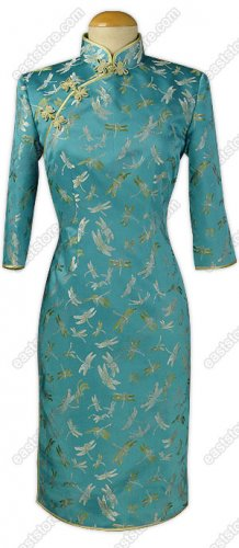 Traditional Dragonfly Silk Brocade Dress