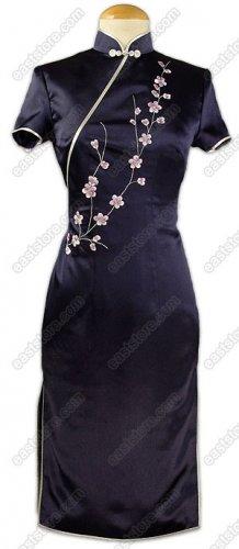 Chic Plum Blossom Embroidered Silk Dress