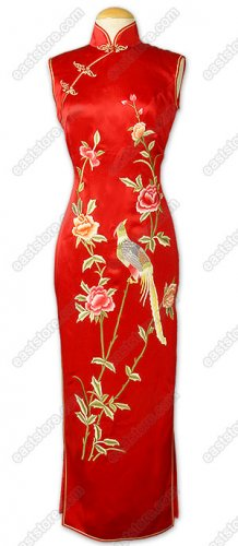Jubilant Phoenix and Peony Embroidered Silk Cheongsam