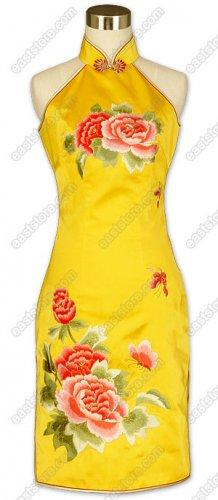 Splendiferous Peony Embroidered Silk Dress