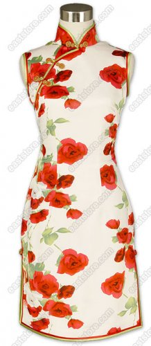 Blooming Roses Printed Silk Cheongsam