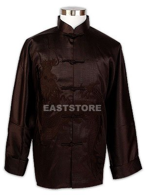 Oriental Brown Embroidered Dragon Jacket