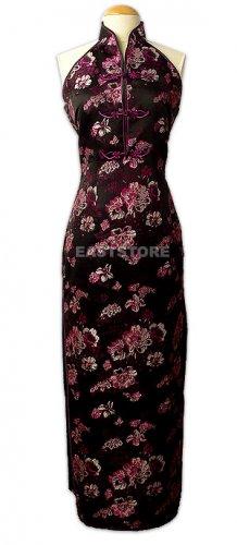 Black Peony Brocade Dress