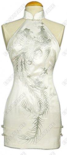 Dazzling Phoenix Embroidery Silk Mini Cheongsam