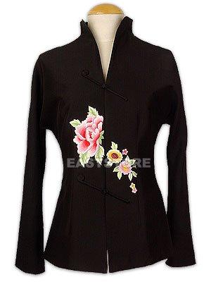 Black Floral Embroidery Jacket