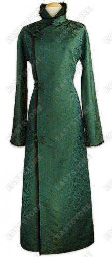 Chic Fur Trimmed Dragon Brocade Coat