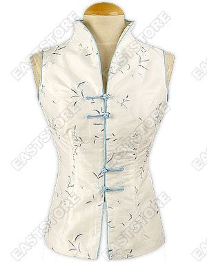 Floral Embroidery Sleeveless Thai Silk Blouse
