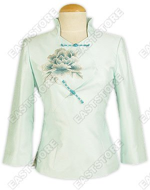 Graceful Peony Embroidery Thai Silk Blouse