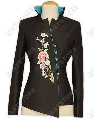 Asymmetric Front Embroidered Silk Jacket