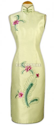 Silk Phenix Flower Embroidered Knee-Length Qipao