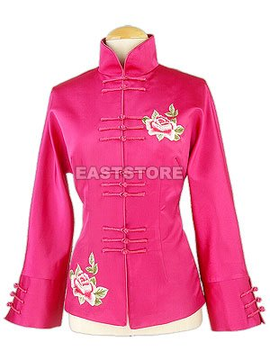 Unique Peony Embroidered Silk Jacket