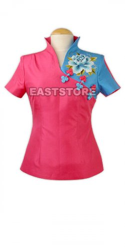 Two-tone Peony Embroidery Silk Blouse