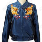 Flying Dragon Embroidered Thai Silk Bomber Jacket