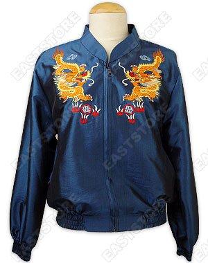 Flying Dragon Embroidered Thai Silk Bomber Jacket