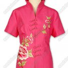 Elegant Peony Embroidered Silk Blouse