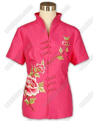 Elegant Peony Embroidered Silk Blouse
