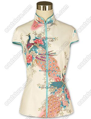 Traditional Peacock Printed Silk Blouse