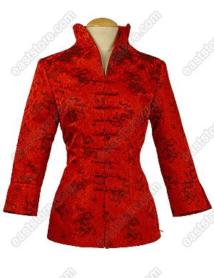 3/4-Length Sleeves Dragon Patterned Brocade Jacket