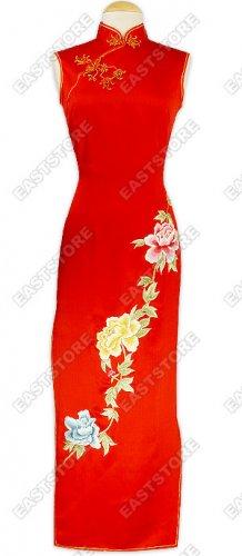 Silk Peony Embroidery Cheongsam