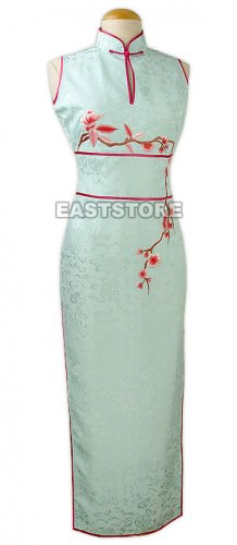Elegant Plum Blossom Embroidery Silk Cheongsam